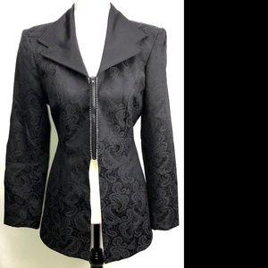 Cache Black Rhinestone Filigree Blazer Jacket 4